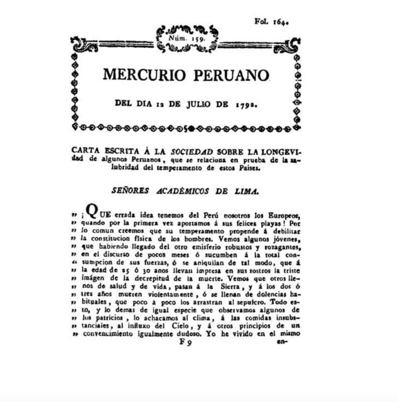 Carta escrita a la Sociedad sobre la longevidad de algunos peruanos, que se relaciona en prueba de la salubridad del temperamento de estos países